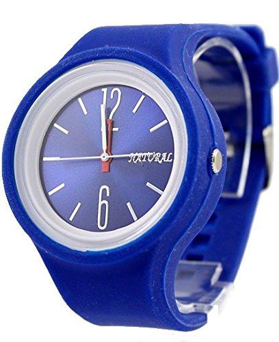 Neue blaue runde weisse Uhrgehaeuse Silikon Blue Band Dame Dial