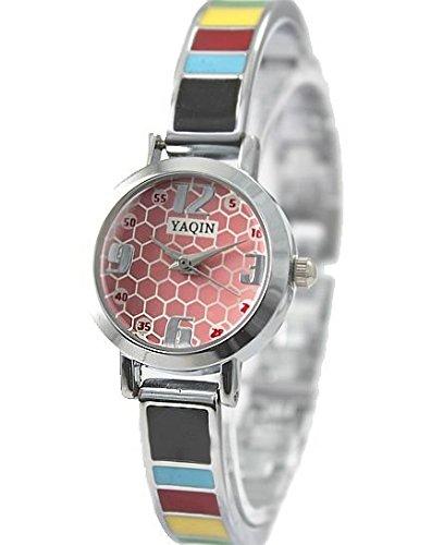Neue glaenzende silberne Band PNP glaenzende silberne Uhrgehaeuse Rosa Armband Uhr Dial