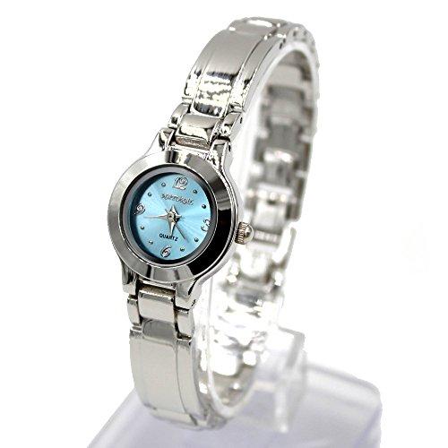 Neue glaenzende silberne Band Light Blue Dial 2035 Bewegungs Quarz Armbanduhr