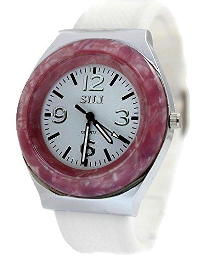 Neue PNP glaenzende silberne Uhrgehaeuse Silikon Weiss Band Damen Mode Uhr