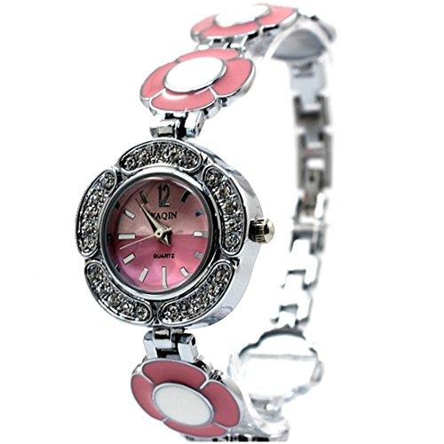 Neue glaenzende silberne Band rosa Zifferblatt Dame Frauen Mode Armbanduhr