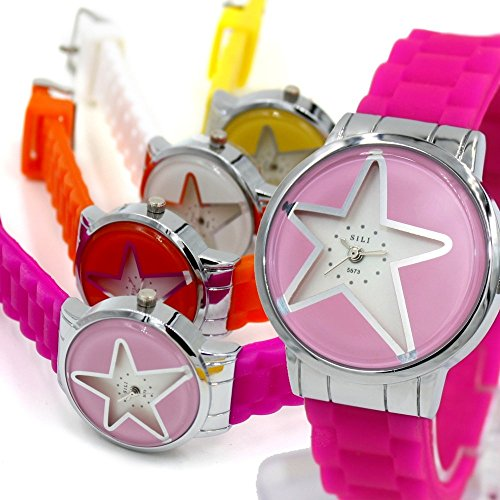 Neue PNP glaenzende silberne Uhrgehaeuse Silikon Magenta Band Frauen Mode Uhr