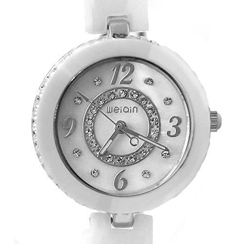 Neue weisse Band runden Matt Silver Dial Dame Frauen Keramik Armband Uhr
