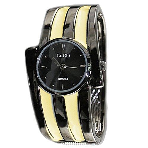 Neue schwarze Zifferblatt Metall Schwarz Band Metallschwarz Uhrgehaeuse Dame Armband Uhr