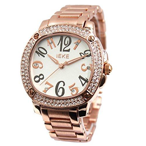 Neue weisse Zifferblatt Rose Gold Ton Band Rose Gold Ton Uhrgehaeuse Mode Uhr