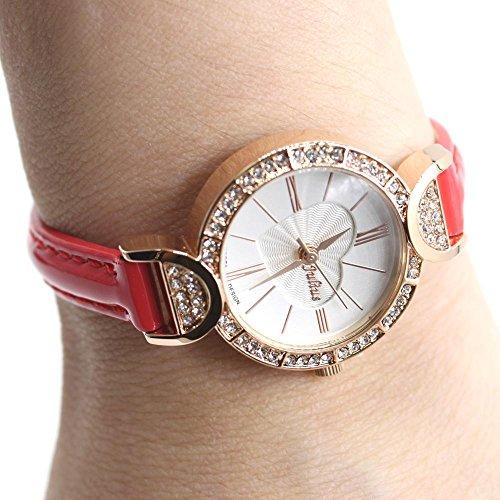 Neues weisses Zifferblatt Runde Rose Goldtone Uhrgehaeuse Dame Frauen Mode Uhr
