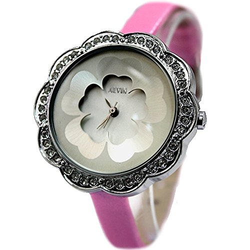 New White Dial Rosa Band Damen Blumen Muster Crystal Case Mode Uhr