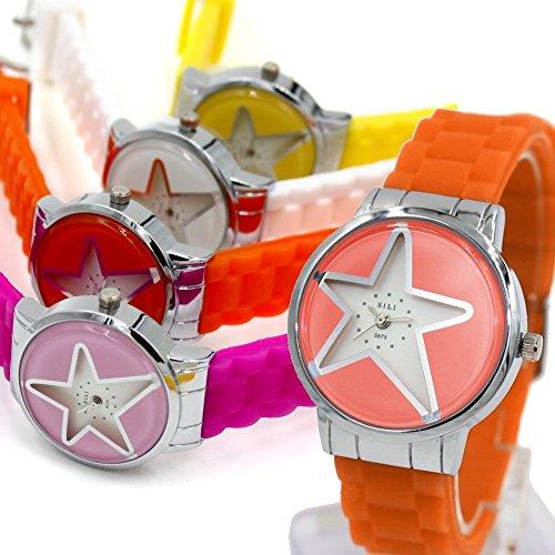 Orange Band runde PNP glaenzende silberne Uhrgehaeuse Dame Frauen Mode Uhr