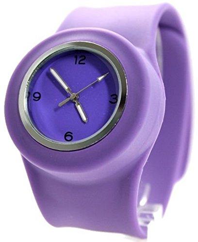 PNP glaenzende silberne Uhrgehaeuse Silikon Violett Band Unisex SNAP Mode Uhr