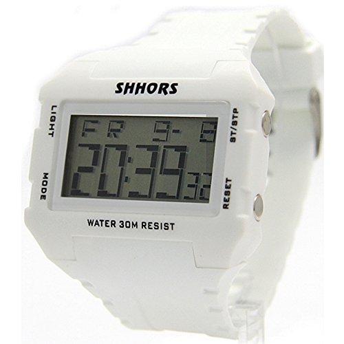 10dw354 a rechteckig weiss Watchcase Chronograph Hintergrundbeleuchtung Herren Frauen Digitale Armbanduhr