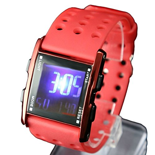 Red Uhrgehaeuse Chronograph Datum Hintergrundbeleuchtung Red Bezel Jungen Maedchen Digitaluhr