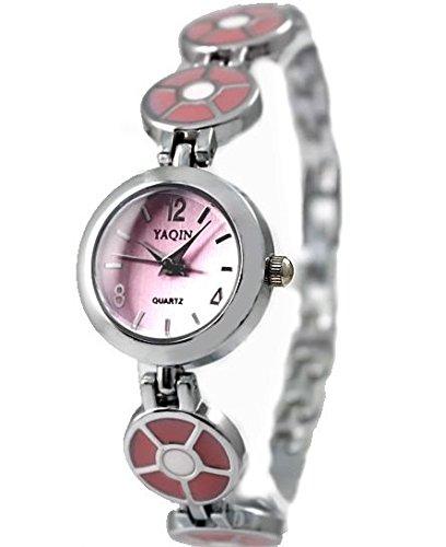 Rosa Band runde PNP glaenzende silberne Uhrgehaeuse Rosa Zifferblatt Frauen Armband Uhr