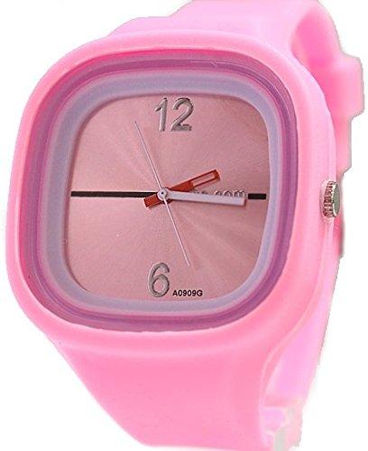 Rosa Dial quadratische weisse Uhrgehaeuse Silikon Rosa Band Unisex Mode Uhr
