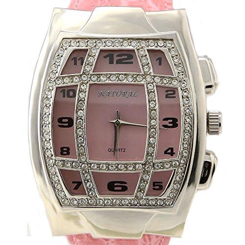 New Rosa Band Rechteckige PNP glaenzende silberne Uhrgehaeuse Damen Mode Uhr