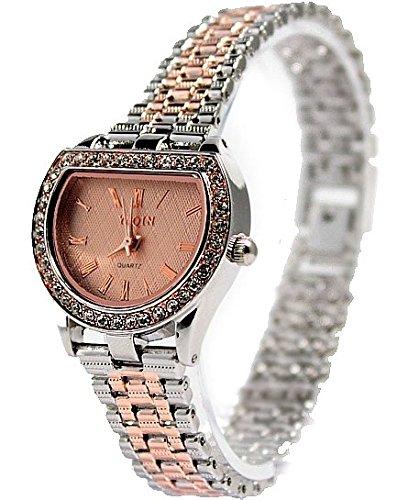 Rose Gold Ton Band PNP glaenzende silberne Uhrgehaeuse Dame Frauen Mode Uhr