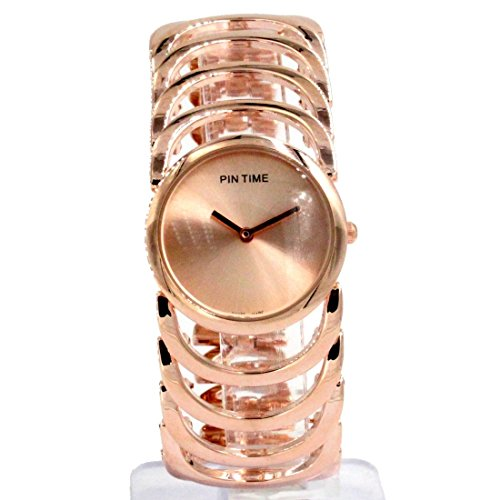 Rose Gold Ton Band runde Dame Frauen Mode Uhr Rose Gold Ton Dial