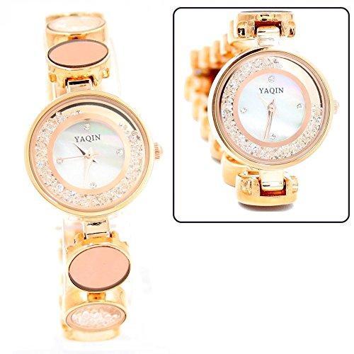 New Rose Gold Ton Band runde weisse Vorwahlknopf Dame Frauen Armband Uhr