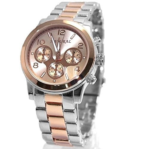 Round Rose Gold Tone Dial 100 geprueft Water Resistant Armbanduhr