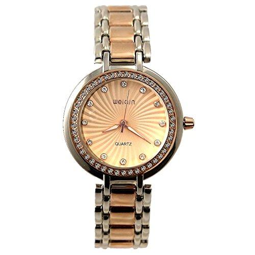 Runde PNP glaenzende silberne Uhrgehaeuse Frauen Mode Uhr Rose Gold Ton Dial