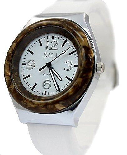 Neue Runde PNP glaenzende silberne Uhrgehaeuse Silikon White Band Mode Uhr