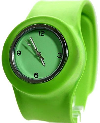 Runde PNP glaenzende silberne Uhrgehaeuse Silikon Gruen Band Unisex Mode Uhr