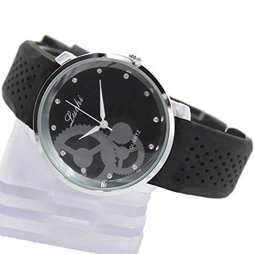 Runde PNP glaenzende silberne Uhrgehaeuse Silikon Schwarz Band Unisex Mode Uhr