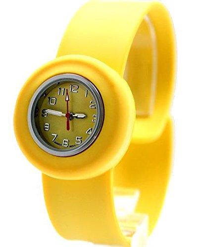 Runde PNP glaenzende silberne Uhrgehaeuse Silikon Gelb Band SNAP Kind Uhr
