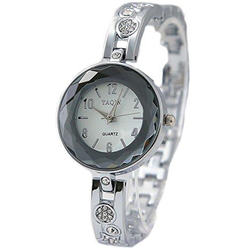 Neue Runde weissen Zifferblatt Damen Frauen Spezialglas Muster Armband Uhr
