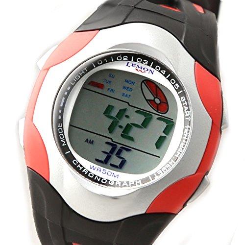 Schwarz Band PNP glaenzende silberne Uhrgehaeuse Datum Hintergrundbeleuchtung Damen Digitaluhr