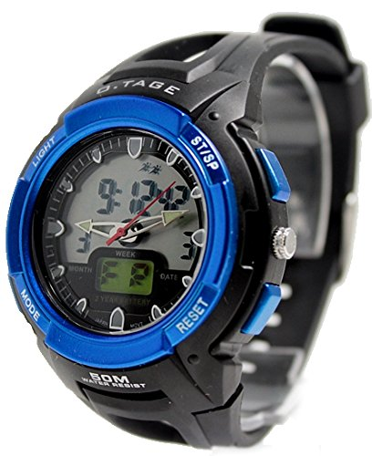Schwarz Uhrgehaeuse Datum Alarm Hintergrundbeleuchtung Blau Luenette Mens Analog Digital Uhr