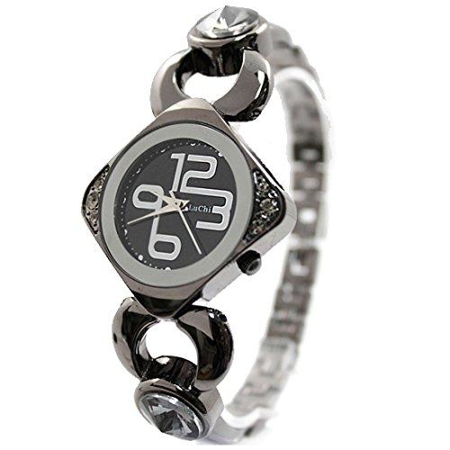 Metall schwarz Uhrgehaeuse Zifferblatt schwarz Frauen reizender Crystal Case Armband Uhr