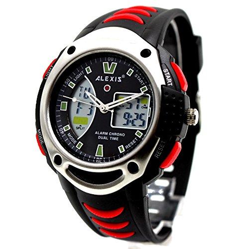 aw370g schwarz Watchcase Chronograph Datum Alarm Hintergrundbeleuchtung Herren Analog rot