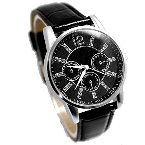 Neue schwarze Zifferblatt schwarz Band PNP glaenzende silberne Uhrgehaeuse einfache Art und Weise Uhr