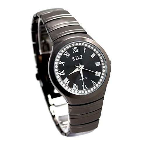 Schwarzes Zifferblatt Runde Gunmetal Tone Uhrgehaeuse Maenner Kristall Mode Uhr Dial