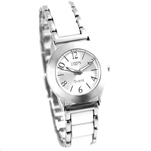 Shiny Silber Band runde PNP glaenzende silberne Uhrgehaeuse Damen Mode Uhr