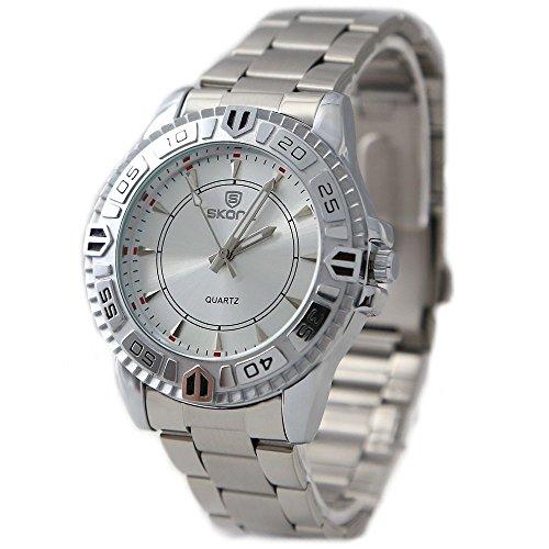 Shiny Silber Band runde PNP glaenzende silberne Uhrgehaeuse Herren Mode Uhr