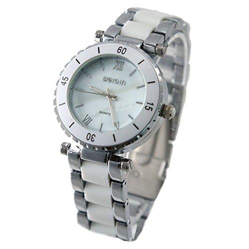 Shiny Silber Band runde PNP glaenzende silberne Uhrgehaeuse Unisex Mode Uhr
