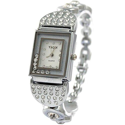 Shiny Silber Band Weiss Dial Damen Damen Lauf Kristalle Armband Uhr