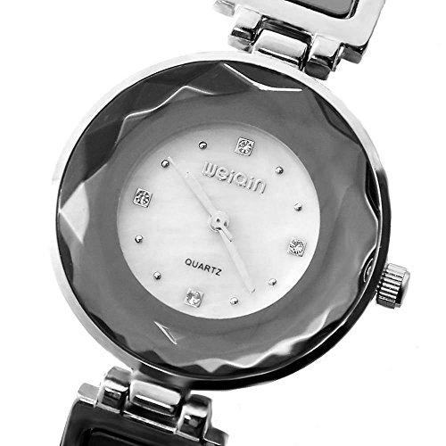 Shiny Silber Band Weiss Dial weiblichen Silber Spiegelglas Armband Uhr