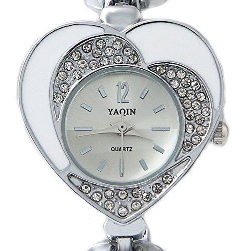 Shiny Silver Band Silver Dial Damen Kristallherz Kasten Armband Uhr