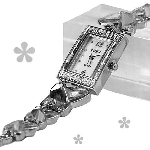 Shiny Silver Band rechteckigen weissen Zifferblatt Dame Frauen Armband Uhr