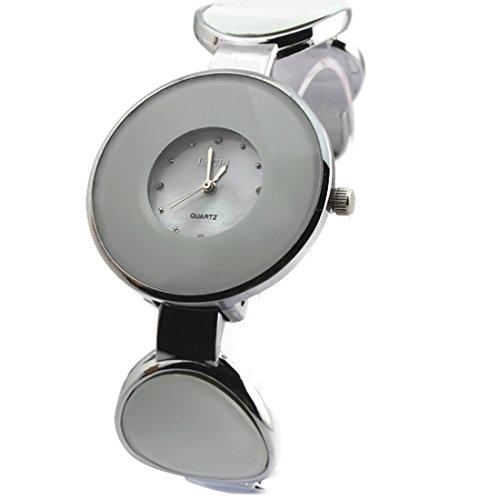 Shiny Silver Band PNP glaenzende silberne Uhrgehaeuse Frauen Quarz Armband Uhr