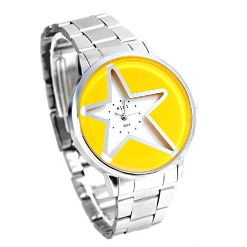 Shiny Silver Band PNP glaenzende silberne Uhrgehaeuse Gelb Stern Mode Uhr