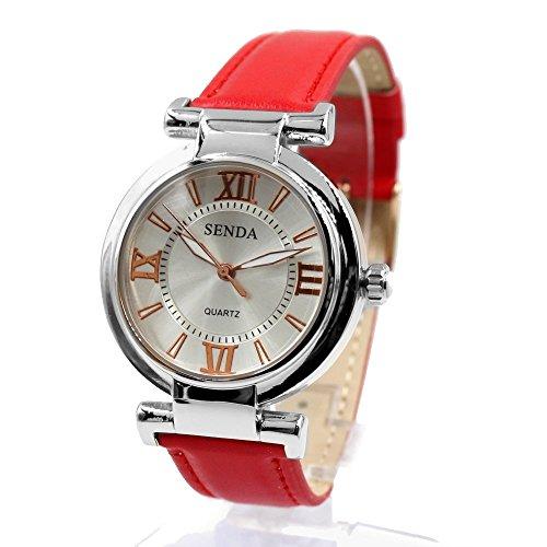 Dial Silber Rot Band runde PNP glaenzende silberne Uhrgehaeuse Frauen Mode Uhr