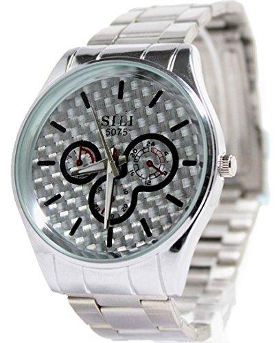 Silver Dial glaenzende silberne Band runde PNP glaenzende silberne Uhrgehaeuse Herren Uhr