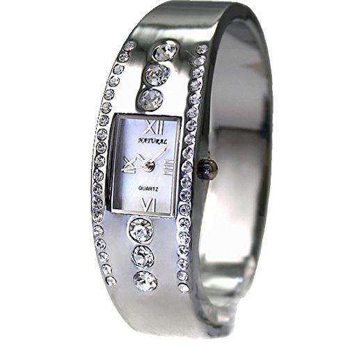 New Shiny Silver Band Rechteck PNP glaenzende silberne Uhrgehaeuse Armband Uhr