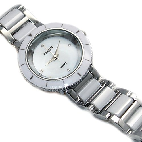 Shiny Silver Band runden weissen Zifferblatt Damen Frauen Keramik Armband Uhr