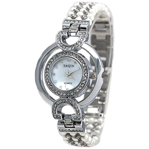 Shiny Silver Band runden weissen Zifferblatt Damen Immited Perlen Armband Uhr