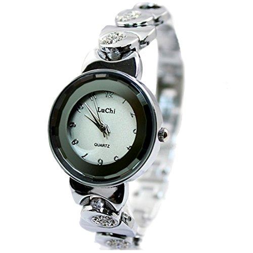 Shiny Silver Band weissen Zifferblatt Dame Frauen elegante stilvolle Armband Uhr