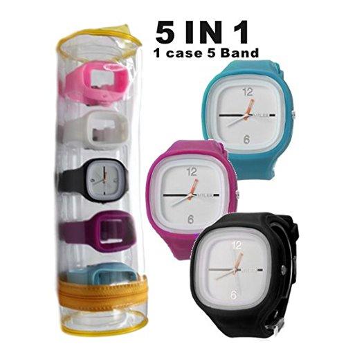 New Square Silikon schwarz Band Unisex Fuenf Band Set Uhr Mode Uhr